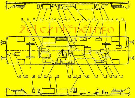 Rozmestnenie zariadení na spodku skrine MV 812