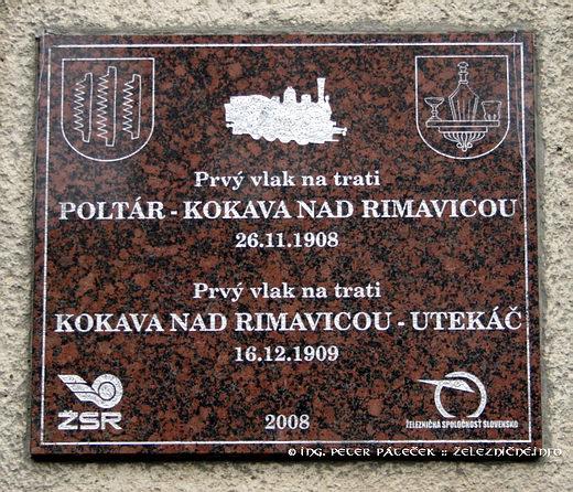 Kokava nad Rimavicou - Pamätná tabuľa k 100. výročiu trate