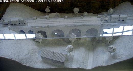 Báhoňský viadukt na prvej konskej železnice - model