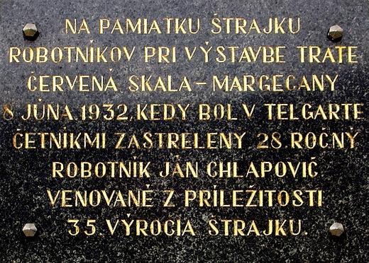 Telgárt - pamätná tabuľa