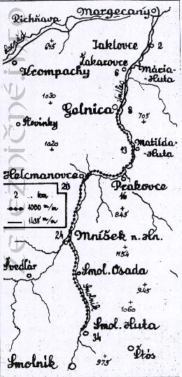 Mapa trate Margecany - Gelnica - Smolnícka Huta