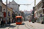 Električka Bombardier Flexity Outlook v uliciach Bratislavy
